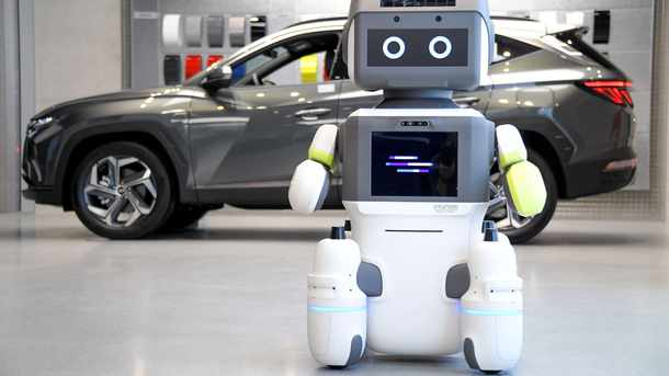 Humanoid robot helps customers at Hyundai showroom in Seoul