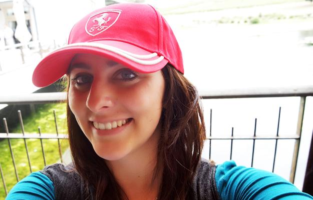 Danielle loves her Ferrari cap
