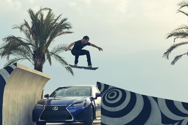 Lexus Hoverboard - going over ramp over car
