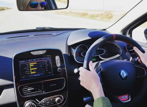 Juliet driving the Renault Clio RS