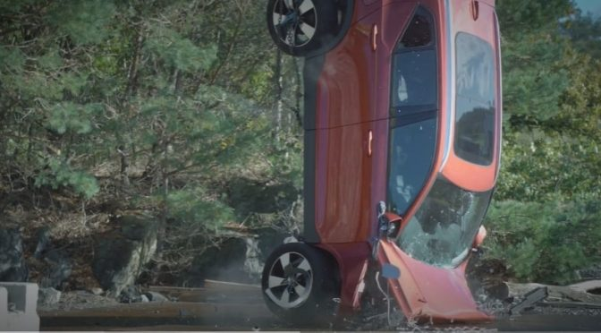 Volvo drops new cars 30-metres in crash tests