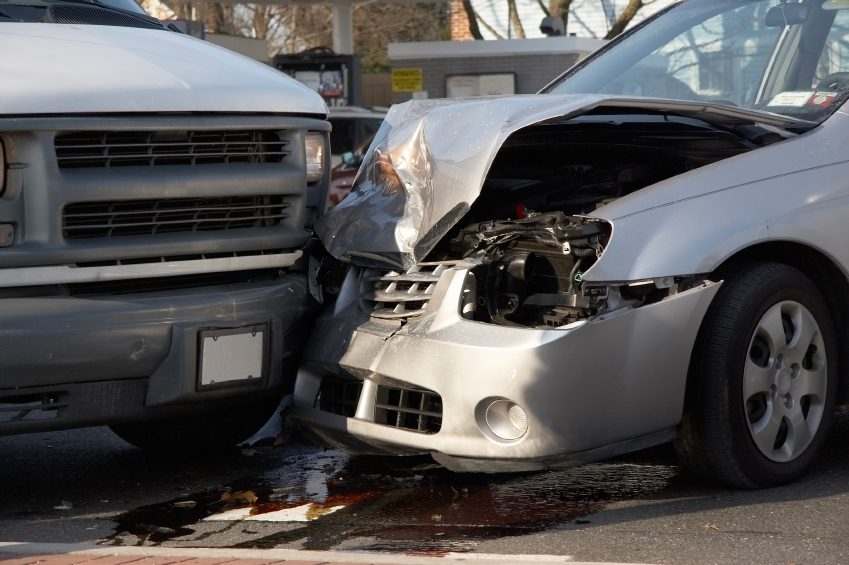 Car accident. Close up of the damaged vehicles