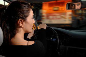 Woman Driving Car Looking Aware